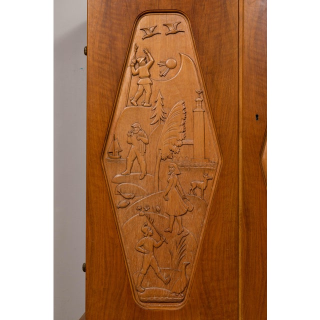 1960s 1961 E. Hoglunds Relief Carved Cabinet For Sale - Image 5 of 11