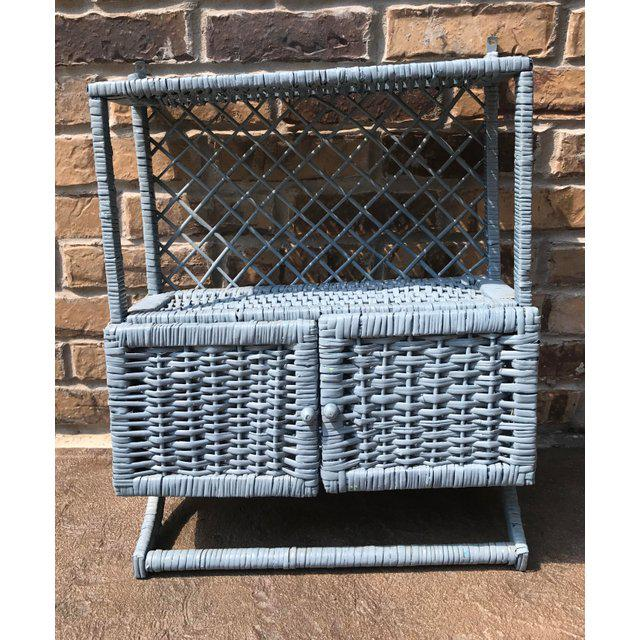 Vintage Blue Wicker Wall Cabinet With Towel Rack - Image 3 of 4