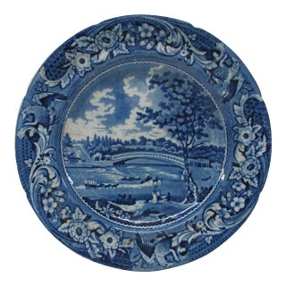 Vintage Round Blue and White Decorative Plate With Picnic Scene For Sale
