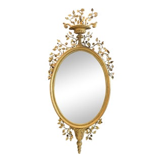 Vintage Italian Wall Mirror With Metal Floral Accents - Early 20th C For Sale