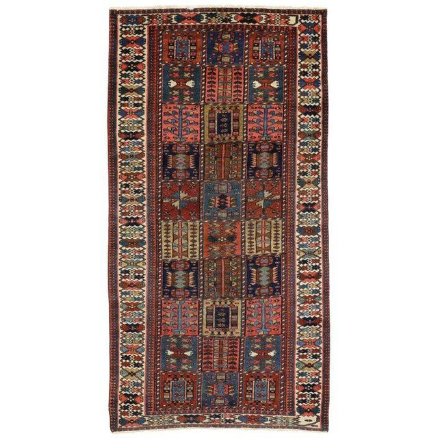 "Textile Antique Bakhtiari Pink and Blue Wool Rug - 5'1"" X 10'4"" For Sale - Image 7 of 7"