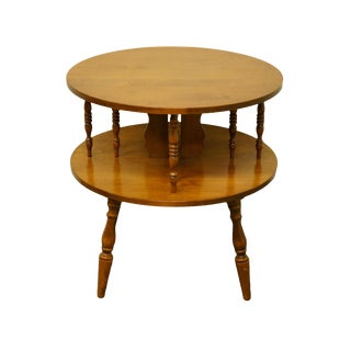 """Early American Tell City Furniture Solid Hard Rock Maple Colonial Style 26"""" Round Accent Table For Sale"""