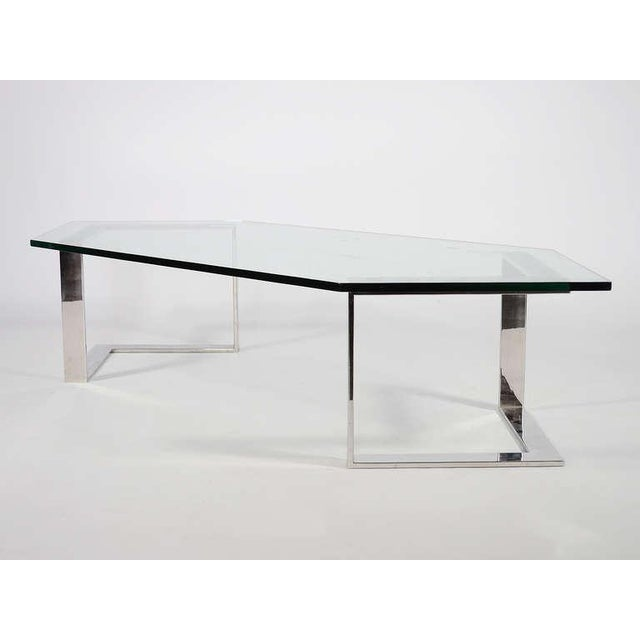 Chrome And Glass Coffee Table By Directional - Image 6 of 10