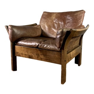 Danish Leather Lounge Chair With French Cane Sides, Late 1970s For Sale