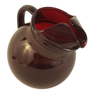 Mid 20th Century Royal Ruby Anchor Hocking Tilt Pitcher For Sale