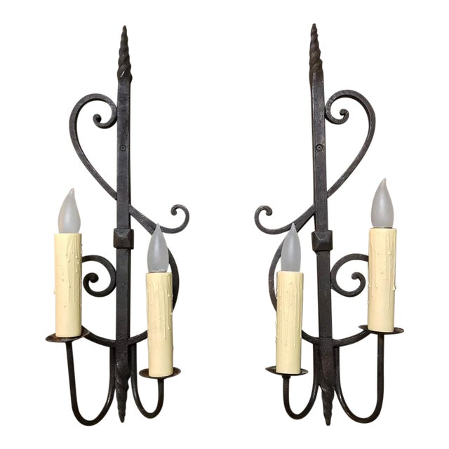 Pair Antique Rustic Wrought Iron Wall Sconces For Sale