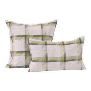 Lime Plaid Lambswool Throw + Lumbar Pillow Cover For Sale
