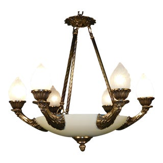 Antique Empire Neoclassical Brass Chandelier For Sale