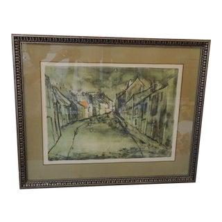 European Street Watercolor Print, Framed For Sale