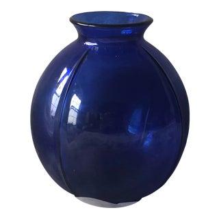 1960s Modern Cobalt Blue Glass Vase For Sale