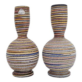 1970s Vintage Italian Hand - Painted Ceramic Vases - A Pair For Sale
