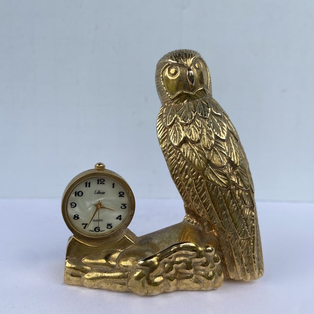 Mid 20th Century Brass Owl Clock For Sale - Image 12 of 12