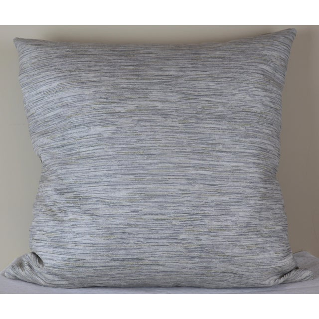 Paris Photo Pillow by Swede Collection. Exterior architectural photo printed on linen canvas. Back side is gray velvet...