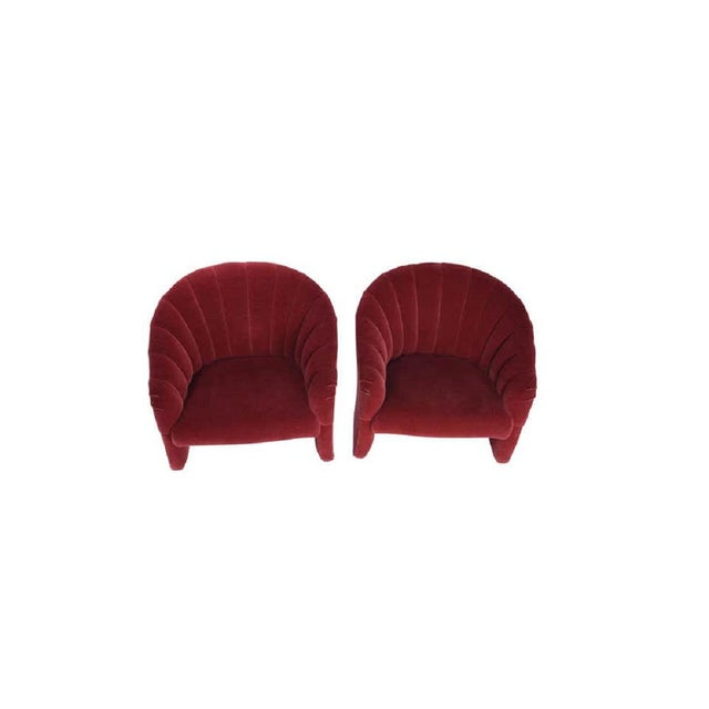 Hollywood Regency 1970s Red Mohair Barrel Back Lounge Chairs- A Pair For Sale - Image 3 of 8