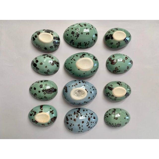 1970s Danish Modern Dansk Large and Medium Jade Green Stoneware Egg Boxes - Set of 2 For Sale - Image 10 of 13