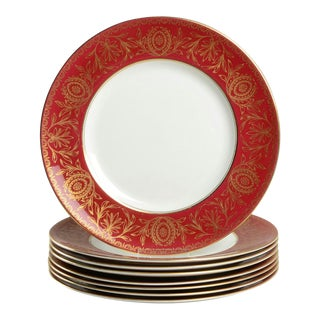 Royal Worcester Pompadour Red and Gold Dinner Plate Set /8 For Sale