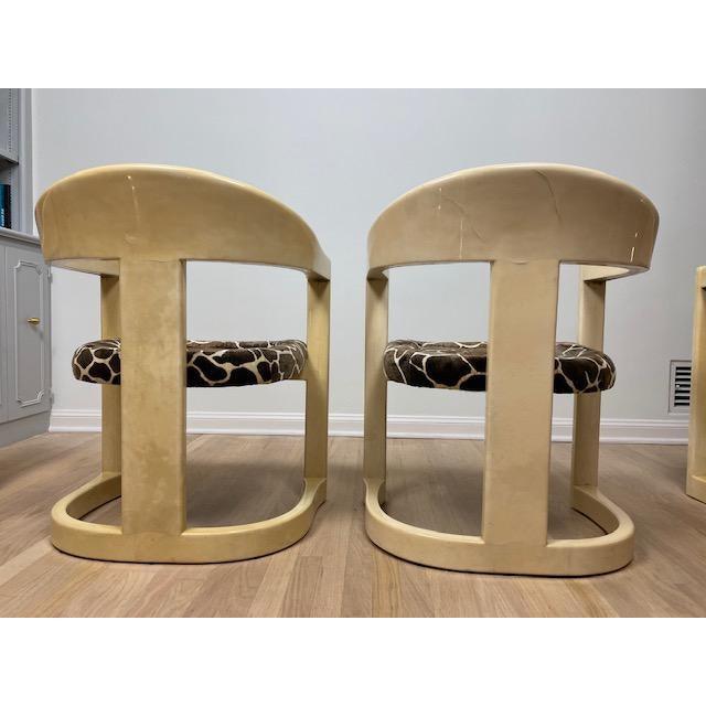 Vintage Karl Springer Onassis Goatskin Chairs - Set of 4 For Sale - Image 9 of 11