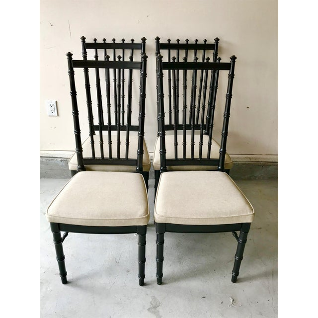 1970s Vintage Black Faux Bamboo Upholstered Dining Chairs- Set of 4 For Sale - Image 10 of 10