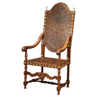 18th Century Spanish Carved Walnut Armchair With Embossed Leather and Finials For Sale