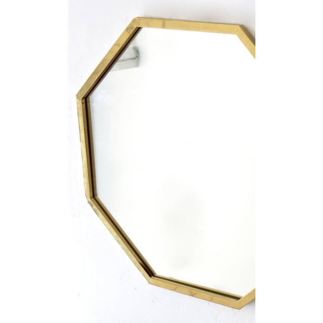 Italian Octagonal Brass Framed Mirror For Sale - Image 4 of 7