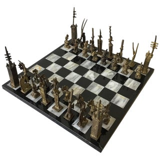 1960s Hand Made African Brass Chess Set on Marble Board For Sale