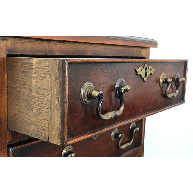 Gold Diminuitive Burl Walnut Chippendale Style Chest / Nightstand For Sale - Image 8 of 9