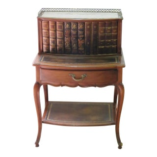 Early 20th Century Louis XIV Leather Trimmed Marble Topped Side Table For Sale