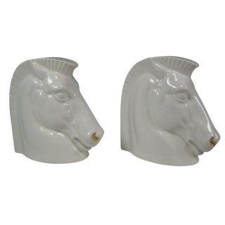 Art Deco Ceramic Trojan Horseheads - A Pair