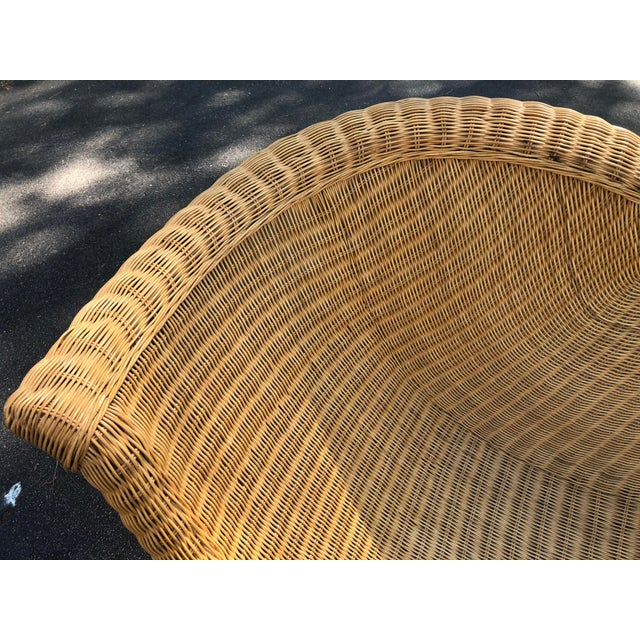 Vintage Modern Wicker Chaise Lounge For Sale - Image 4 of 7