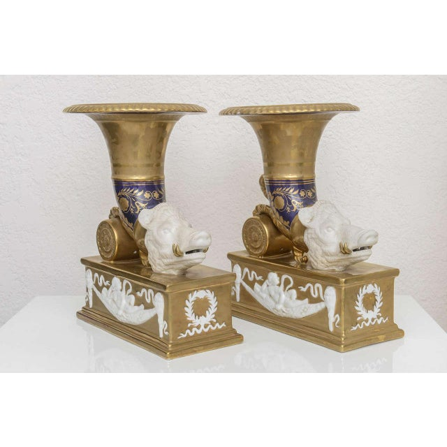 Gold Pair of Neo-Classic Style Cornucopia with Boars: Dresden, Germany, 19th C. For Sale - Image 8 of 11
