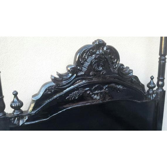French Louis XV Black Canopy Queen Bed - Image 4 of 4