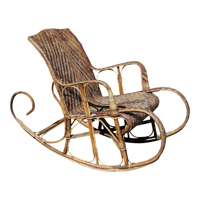 C. 1940s French Art Deco Wood Rocking Chair For Sale
