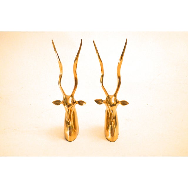 Vintage Brass Antelope Bookends For Sale - Image 5 of 6