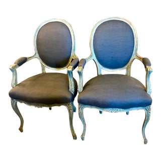 Late 19th C. French Painted Louis XV-Style Bergeres - a Pair For Sale