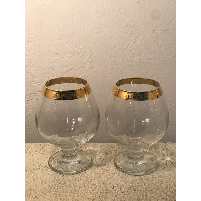 Metal 1920s Art Deco Dorothy Thorpe 18k Gold Banded Wine Glasses - a Pair For Sale - Image 7 of 7