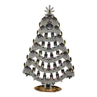 1940s Czech Crystal and Rhinestone Table Top Mantle Christmas Tree For Sale