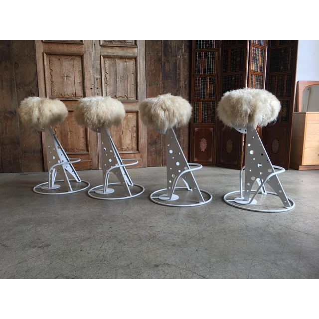 Modern Post Modern Mongolian Wool Bar Stools - Set of 4 For Sale - Image 3 of 9