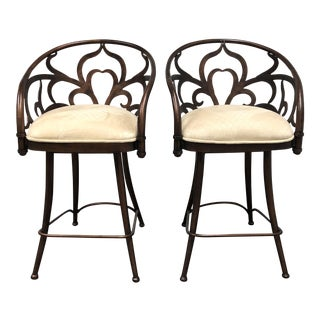 Artistica Home Laser Cut Scroll Stools - A Pair