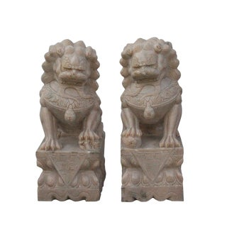 Chinese Pair Off White Beige Marble Stone Fengshui Foo Dogs Statues For Sale