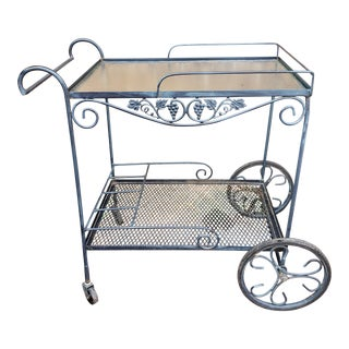 Vintage Mid Century Russell Woodard Salterini Wrought Iron Garden Patio Bar Cart For Sale