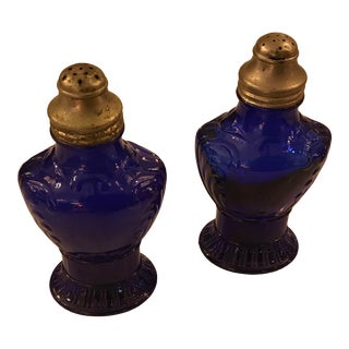 Cobalt Glass Antique Salt and Pepper Shakers For Sale
