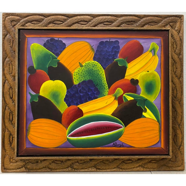 """Haitian Artist Alberoi Bazile """"Fruit"""" Still Life Oil Painting in Hand Carved Frame C.1970 For Sale - Image 13 of 13"""