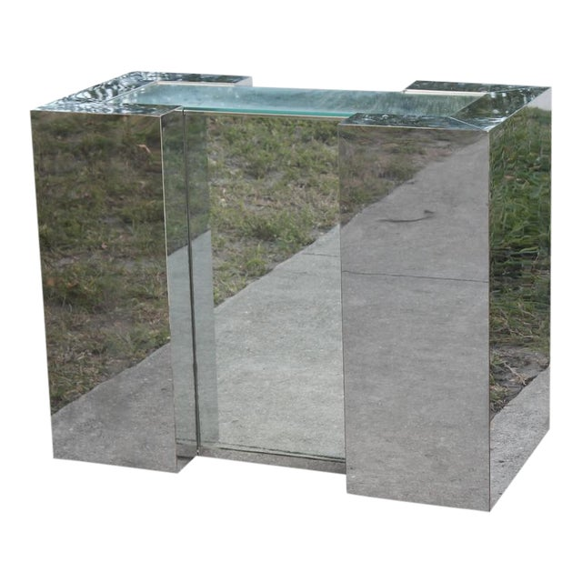 Milo Baughman Style Mirrored Chrome Dining Table Base For Sale - Image 12 of 12