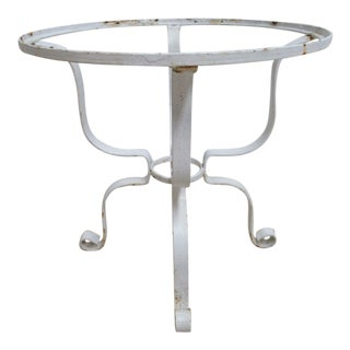 Vintage French White Outdoor Round Patio Porch End Table For Sale