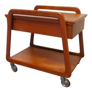 20th Century Danish Modern Teak Trolley Bar Cart With Sliding Top