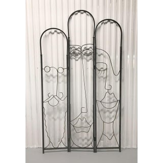 Vintage Hand-Wrought Faces Folding Screen Preview