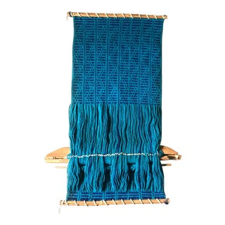 Vintage Mid-Century Blue Woven Fiber Art Wall Hanging For Sale