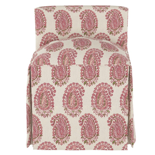 A charming home accent for bedroom or bathroom, features a bright upholstered design with a plush padded seat and skirted...