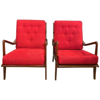 1960s Ib Kofod-Larsen Inspired Danish Modern Arm Lounge Chairs - a Pair For Sale