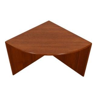 Danish Modern Teak Quarter Round Corner Table For Sale
